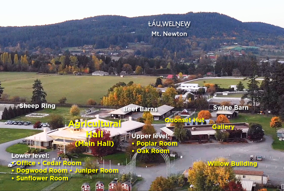 Aerial vioew of main facilities atthe Saanich Fairground